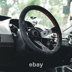BMW E30 M3 STEERING WHEEL GENUINE SUEDE RED STITCH VIILANTE TOURISMO 350mm