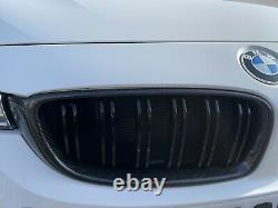 BMW F80 M3 F82 F83 M4 Genuine Carbon Fiber Front Bumper Kidney Grills Black Trim