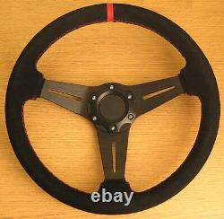 Genuine Leather Sports Steering Wheel Red Stitch Suede Finish 350mm PCD 70mm
