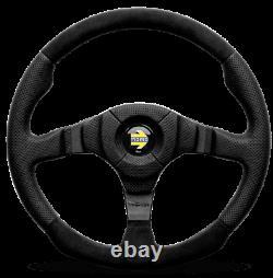 Genuine Momo Dark Fighter 350mm black leather and alcantara steering wheel