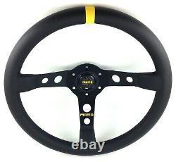 Genuine Momo Model Mod 07 black leather 350mm steering wheel. Deep dish