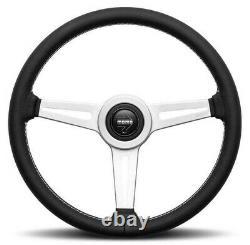 Genuine Momo Retro 360mm steering wheel. Black leather with white stitching