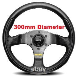 Genuine Momo Team 300mm Black Leather and Airleather steering wheel