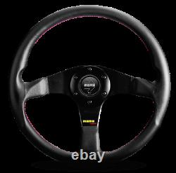 Genuine Momo Tuner black spokes leather 350mm steering wheel with red stitching