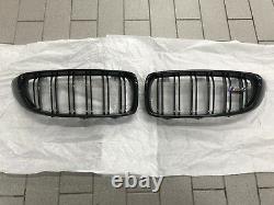 Pair Genuine BMW M4 F82 F83 Gloss Black M Performance Kidney Grilles 51712352811